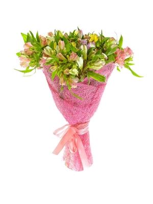 Букет цветов из белой, фиолетовой, розовой и желтой альстромерии №1 с доставкой.