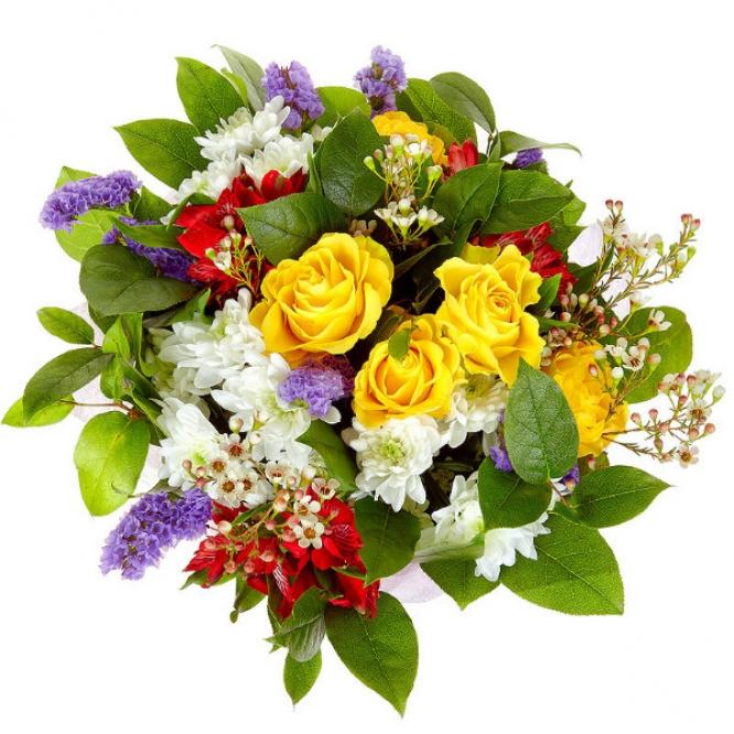 Букет цветов из красной альстромерии, белой хризантемы, желтых роз, салала, статицы и вакс №9 с доставкой.