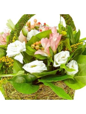 Букет-корзина из зеленой хризантемы, розовой альстромерии, белого лизиантуса, синего гиацинта и солидаго №78