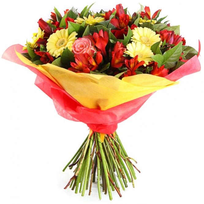 Букет цветов из красных роз, желтой герберы, салала и красной альстромерии №11 с доставкой.