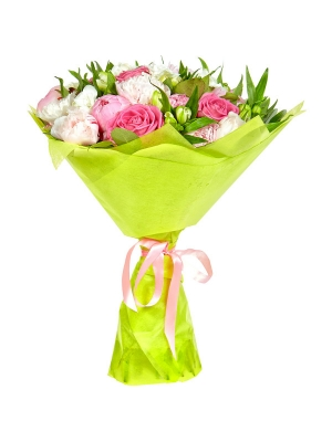 Букет цветов из белой и красной альстромерии, розовых роз, пионов, салала и белой фрезии №6 с доставкой.