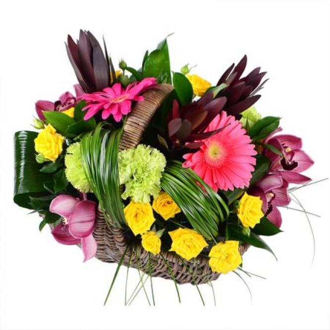 Букет-корзина из зеленой гвоздики, розовой герберы, орхидеи и желтых кустовых роз с доставкой.