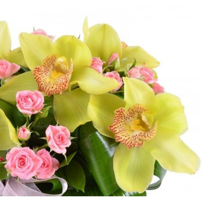 Букет-корзина из зеленой орхидеи (5 цветков) и розовой кустовой розы (5 веток) с доставкой.