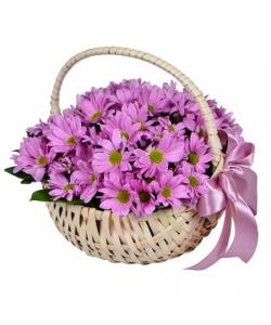 Букет-корзина из кустовой розовой хризантемы с доставкой.