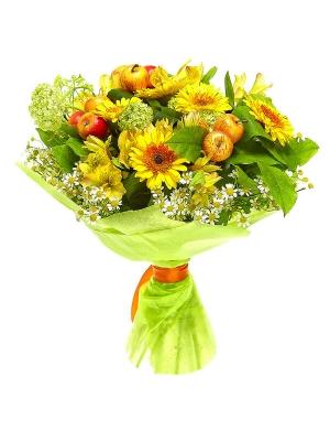 Букет цветов из желтой альстромерии, ромашек, желтой герберы, вибурнумы и аспидистр №13 с доставкой.