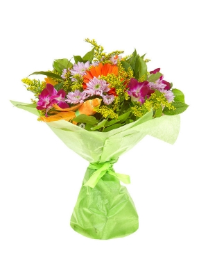 """Букет цветов из рыжей герберы, розовой кустовой хризантемы, солидаго и розовой орхидеи """"Дендробиум"""" №19 с доставкой."""