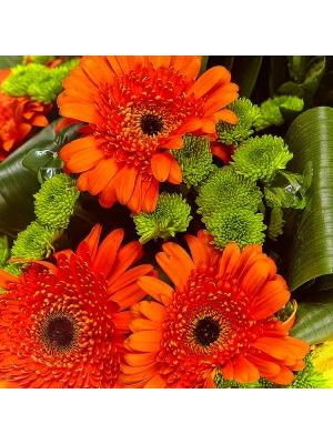 Букет цветов из зеленой кустовой хризантемы, рыжей герберы и аспидистр №20 с доставкой.