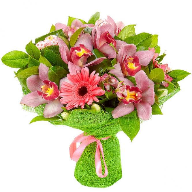 Букет цветов из розовых альстромерии, герберы и орхидеи, а также белых тюльпанов, салала и аспидистр №22 с доставкой.