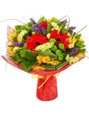 Букет цветов из красной герберы, желтой альстромерии, зеленой кустовой хризантемы и статицы №24 с доставкой.