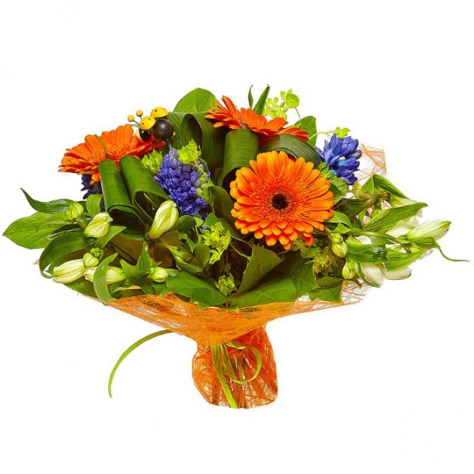 Букет цветов из белой альстромерии, рыжей герберы, синего гиацинта, буплерум и аспидистр №25 с доставкой.