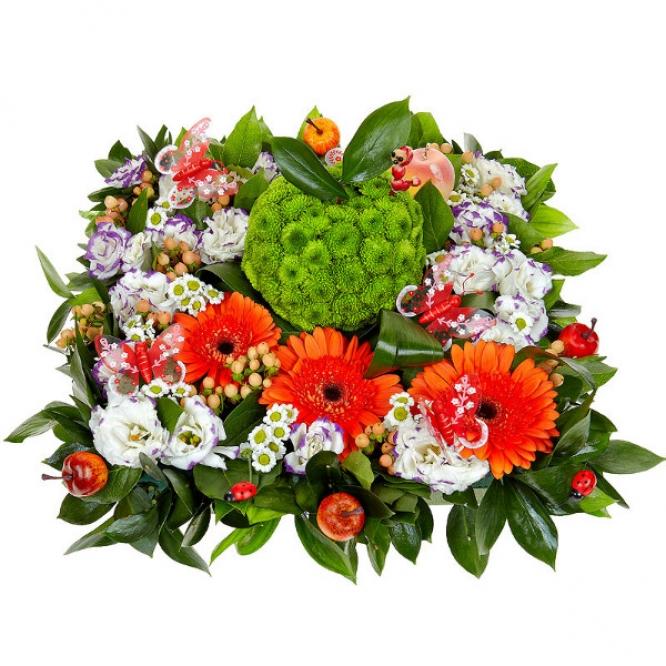 Букет-композиция из белой и зеленой хризантемы, голубого лизиантуса и рыжей герберы №50