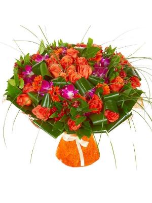 """Букет цветов из рыжей герберы, розовой орхидеи """"Дендбробиум"""", рыжих роз и красной альстромерии №27 с доставкой."""