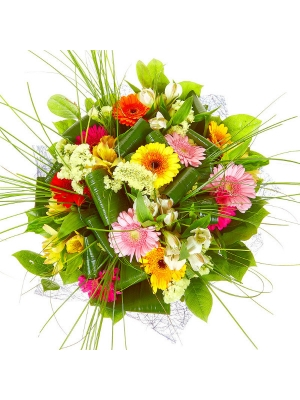 Букет цветов из разноцветной герберы, белой и желтой альстромерии, статицы, берграсса и аспидистр №29 с доставкой.