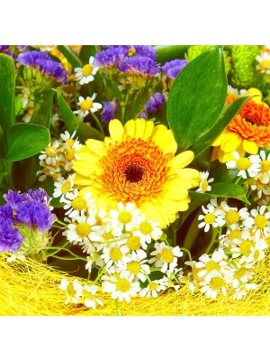 Букет цветов из зеленой кустовой хризантемы, желтой герберы, ромашек, статицы и рускуса №32 с доставкой.