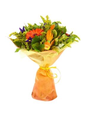Букет цветов из желтой альстромерии, рыжей герберы, синего ириса, салала и солидаго №34 с доставкой.
