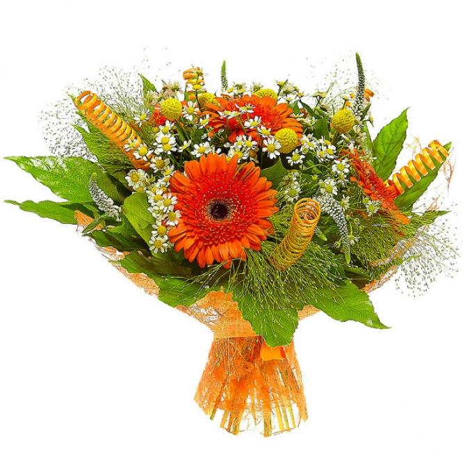 Букет цветов из желтой краспедии, рыжей герберы, ромашек, белой вероники и пестрой аралии №41 с доставкой.