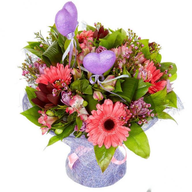 Букет цветов из розовой альстромерии, тюльпанов, красного леукодендрона и розовой герберы №42 с доставкой.