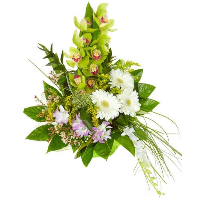 Букет цветов из белой герберы, зеленой орхидеи, солидаго, а также розовой и белой орхидеи Дендробиум с доставкой.