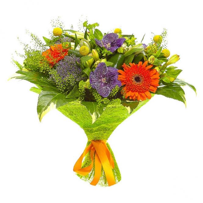 """Букет цветов из рыжей герберы, белой альстромерии, желтой краспедии и синей орхидеи """"Ванда"""" №56 с доставкой."""