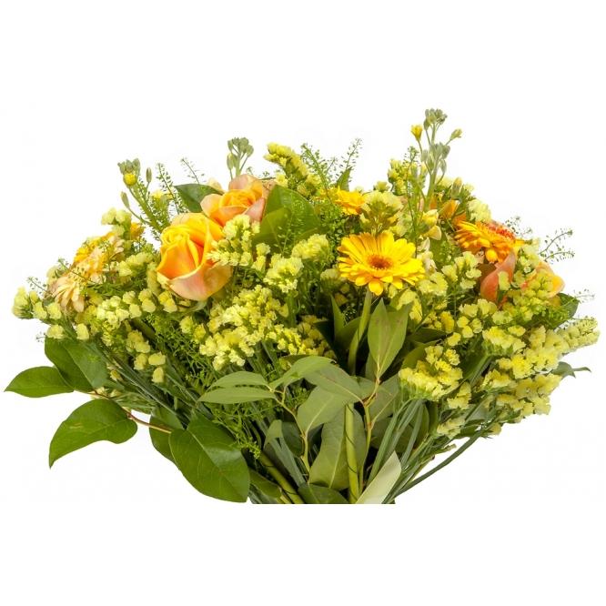 """Букет цветов из желтой герберы, салала, буплерумы, солидаго и желтых роз """"Майами"""" №58 с доставкой."""