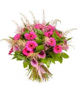 Букет цветов из розовой герберы (15 шт.), астильбы, салала, аспидистры и антуриума №60 с доставкой.