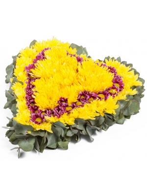 """Букет-сердце из фиолетовой хризантемы """"Спрей"""" и желтой хризантемы """"Сингл"""" №97"""