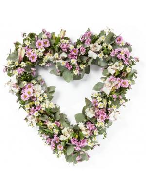 """Букет-сердце из фиолетовой хризантемы """"Сантини"""", эвкалипта синерия, астры и белой альстромерии  №98"""