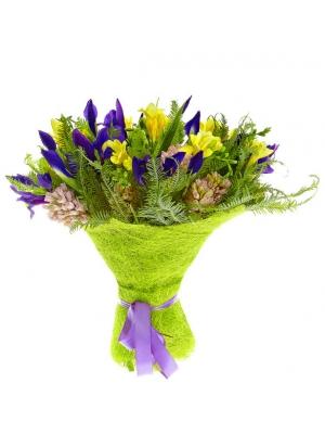 Букет цветов из синего ириса, розового гиацинта, амбреллы и желтой фрезии №8 с доставкой.