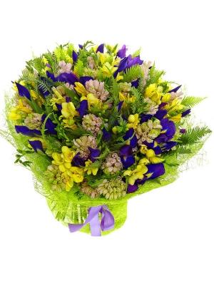 Букет цветов из синего ириса, розового гиацинта, амбреллы и желтой фрезии №9 с доставкой.