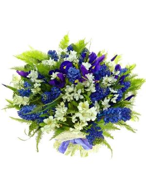Букет цветов из синего ириса, белой фрезии, амбреллы салала и синиего гиацинта №10 с доставкой.
