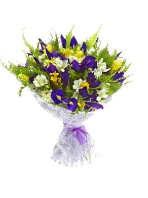 Букет цветов из синего ириса, амбреллы, салала, а также белой и желтой фрезии №11 с доставкой.