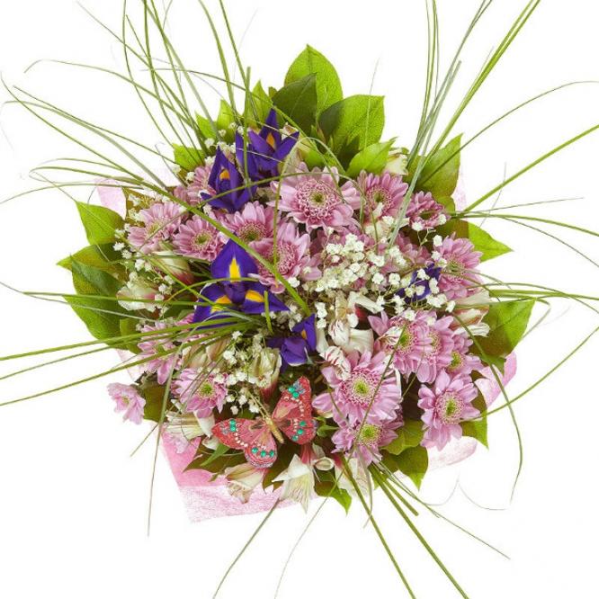Букет цветов из синего ириса, розовой хризантемы, гипсофилы, берграсса и белой альстромерии №13 с доставкой.