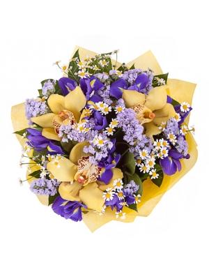 """Букет цветов из синих ирисов, желтой орхидеи """"Цимбидиум"""", ромашек (танацетум) и статици лавандовой №18 с доставкой."""