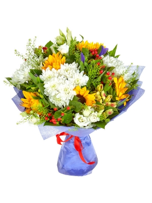 Букет цветов из темно-желтого подсолнуха, синего ириса, желтой альстромерии и белой кустовой хризантемы №4 с доставкой.