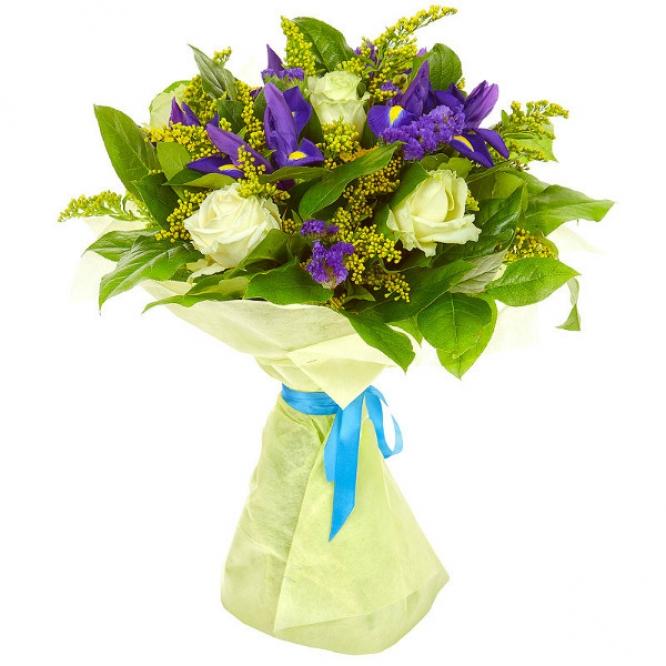 Букет цветов из белых роз, салала, статицы, солидаго и синих ирисов №6 с доставкой.