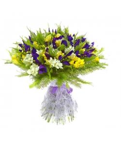 Букет цветов из синего ириса, желтой и белой фрезии, а также амбреллы №7 с доставкой.