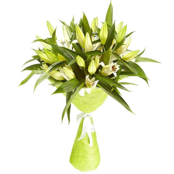 Букет цветов из белой лилии (9 шт.) №1 с доставкой.