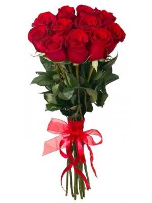 Букет цветов из красных роз Фридом (11 штук 70 сантиметров) с доставкой по Киеву №11