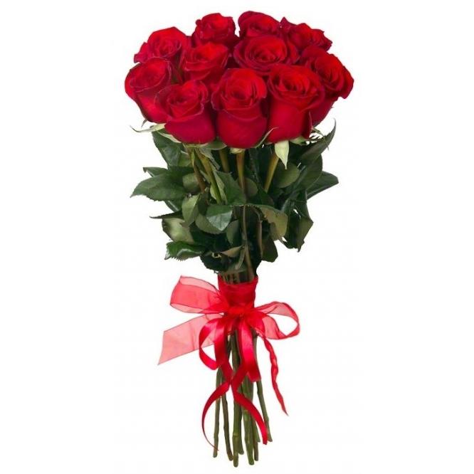 Букет цветов из красных роз (11 штук 70 сантиметров) с доставкой по Киеву №11