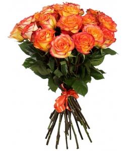 """Букет цветов из ярко-оранжевых роз """"Баллада"""" (15 штук 70 сантиметров) с доставкой по Киеву №20"""