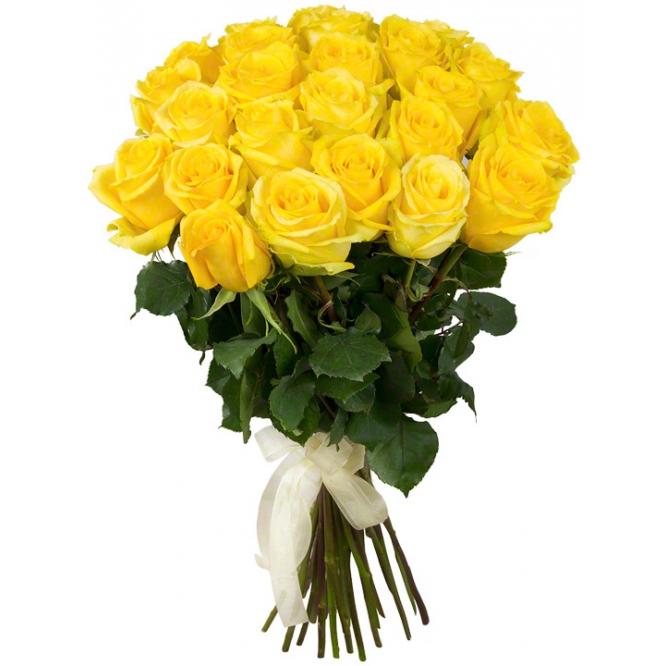 Букет цветов из желтых роз (25 штук 70 сантиметров) с доставкой по Киеву №21