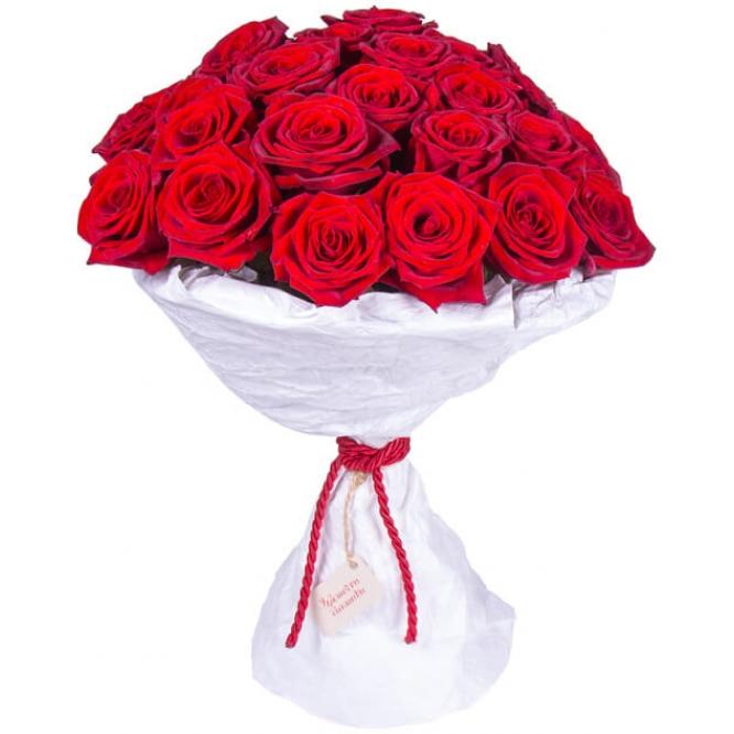 Букет цветов из красных роз (27 штук 60 сантиметров) с доставкой по Киеву №23