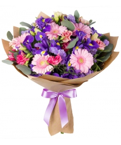 Букет цветов из розовой герберы, синих ирисов, розовой эустомы и декоративной зелени с доставкой по Киеву.