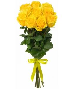 Букет цветов из желтых роз (9 штук 70 сантиметров) с доставкой по Киеву №12