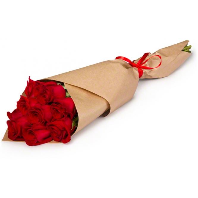 Букет цветов из красных роз (11 штук 70 сантиметров) с доставкой по Киеву №24
