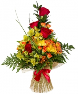 Букет цветов из красных роз, разноцветной альстромерии, рыжих кустовых роз и декоративной зелени с доставкой.
