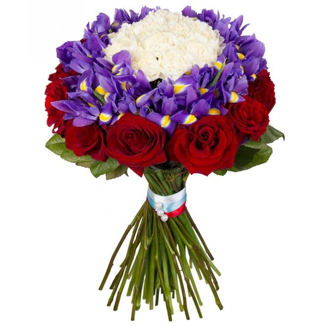 Букет цветов из красных роз (16 шт.), синих ирисов (24 шт.) и белой гвоздики (13 шт.) с доставкой.