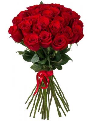 Букет цветов из красных роз (25 штук, 70 сантиметров) с доставкой по Киеву №27