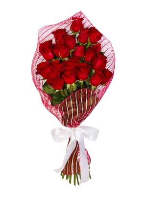Букет цветов из красных роз (25 штук, 70 сантиметров) с доставкой по Киеву №26