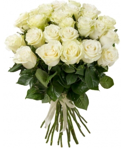 Букет цветов из белых роз (25 штук, 70 сантиметров) с доставкой по Киеву №28